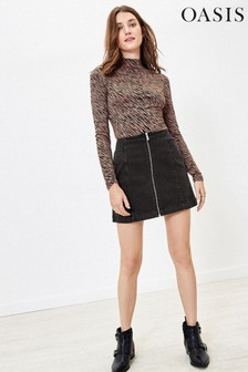 Oasis Grey Washed Black Mini Skirt