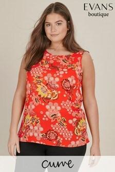 Evans Curve Red Floral Printed Vest