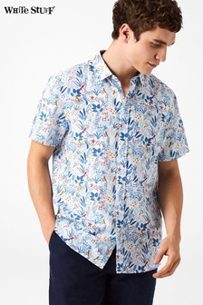 White Stuff Blue Tropical Birds Print Shirt