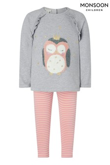 Monsoon Grey Baby Owl Top & Legging Sweat Set