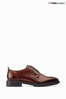 Base London® Brown Boston Lace-Up Plain Toe Derby Shoes