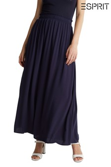Esprit Blue Rayon Crêpe Long Skirt