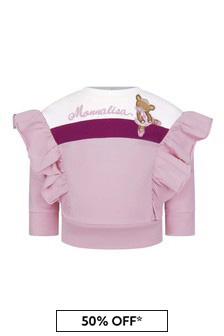 Monnalisa Baby Girls Pink Cotton Teddy Sweater