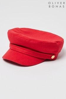 Oliver Bonas Felt Button Detail Red Baker Boy Hat