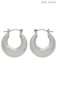 Mint Velvet Silver Tone Clean Hoop Earrings