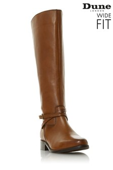 Dune London Wide Fit Tan True Trim Knee High Boots