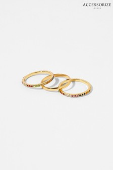 Accessorize Gold-Plated Rainbow Ring Set
