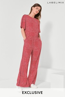 Mix/Cefinn Dot Print Wide Leg Jumpsuit