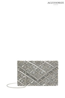 Accessorize Silver Tabitha Embellished Clutch Bag