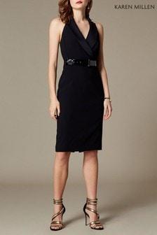 62180b293a1 Karen Millen Black Halter Tux Dress