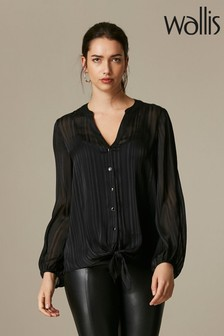 Wallis Black Satin Stripe Tie Front Top