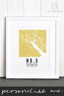 Personalised Your Address Map Framed Print by Letterfest
