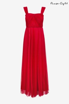 Phase Eight Red Tori Pleated Dress