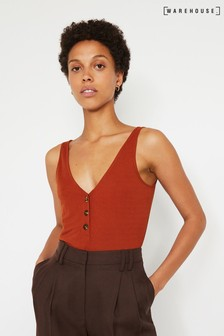 Warehouse Rust Pique Button Through Vest Top