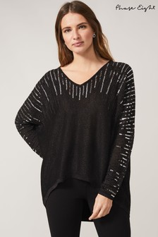 Phase Eight Grey Jouri Sequin Knit Top