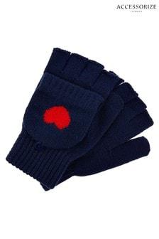 Accessorize藍色心形翻蓋手套