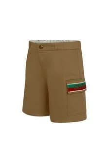 GUCCI Kids Baby Boys Camel Cotton Shorts