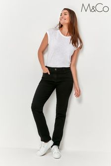 M&Co Black Basic Straight Leg Jeans
