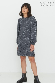 Oliver Bonas Animal Print Grey Sweat Dress