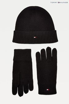 Tommy Hilfiger Black Pima Cotton Beanie and Glove Giftpack Set