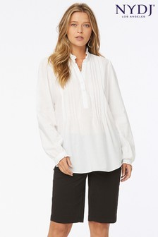 NYDJ White Popover Pleated Front Tunic Top