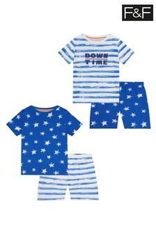 F&F Stripe Slogan Pyjamas 2 Pack