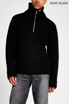 River Island Black Fisherman Funnel Neck Jumper