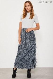Mint Velvet Blue Kiera Print Boho Skirt