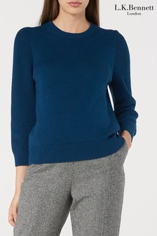 L.K. Bennett Blue Alexia Short Sleeeve Ribbed Top