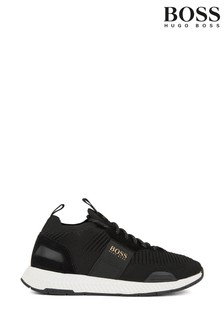 BOSS Black Titanium Runn Knit Sock Trainers