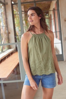 Woven Front Halter Cami Top