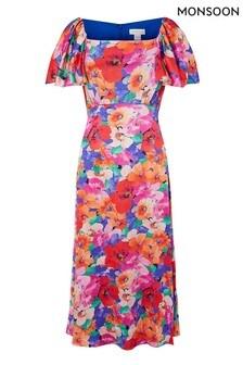 Monsoon Pink Lina Floral Print Midi Dress