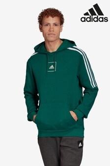 adidas Green 3 Stripe Pullover Tape Hoody