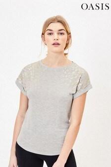 Oasis Grey Foil Leopard Print T-Shirt