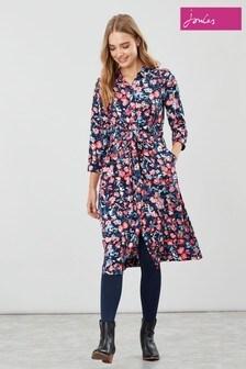 Joules Blue Winslet Long Sleeve Shirt Dress