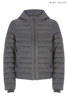 Mint Velvet Grey PU Mix Padded Jacket