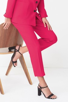 Colour Pop Crepe Slim Trousers