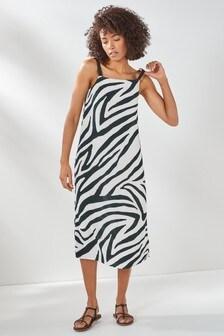 Zebra Print Square Neck Slip Dress