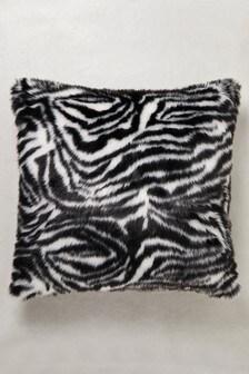 Zebra Faux Fur Cushion