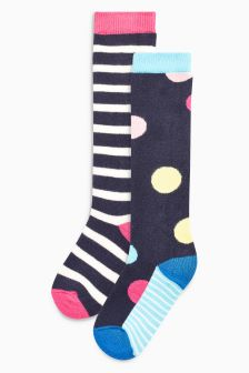 Spot And Stripe Welly Socks Two Pack (Younger)