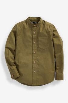 Long Sleeve Oxford Shirt With Grandad Collar (3-16yrs)