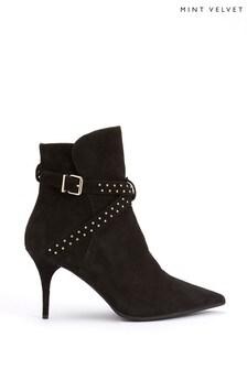 Mint Velvet Black Emily Suede Strap Kitten Boots