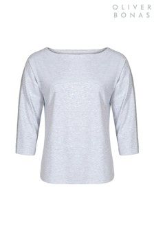 Oliver Bonas Grey Sparkle Trim Jersey Top
