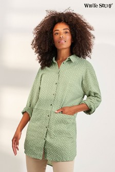 White Stuff Green Sewing Collared Jersey Tunic
