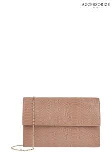 Accessorize Pink Lenka Snake Foldover Bag