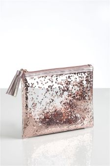 Rose Gold Glitter Make Up Bag