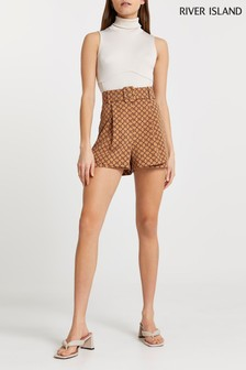 River Island Brown Printed Belted Shorts