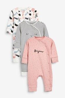 Pack de 3 pijamas tipo pelele con diseño monocromático y sin pies (0 meses-2 años)