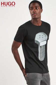 HUGO Black Dracks Bolt Print T-Shirt