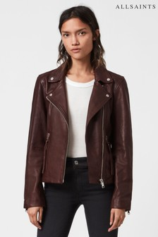 AllSaints Brown Dalby Leather Jacket